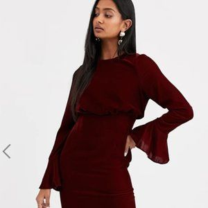 ASOS fluted sleeve velvet midi pencil dress
